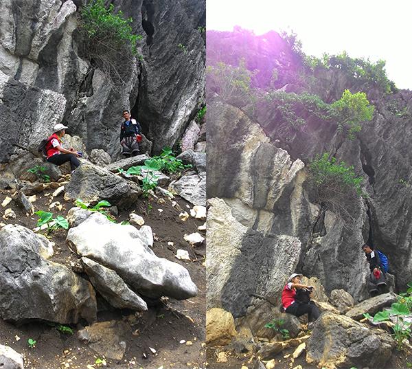 Taking shade under a huge boulder.