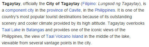 True facts of Tagaytay
