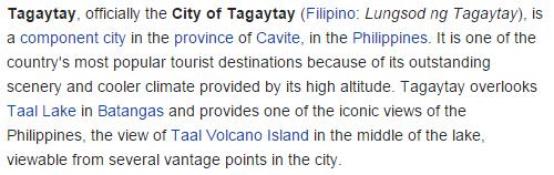 True facts of Tagaytay