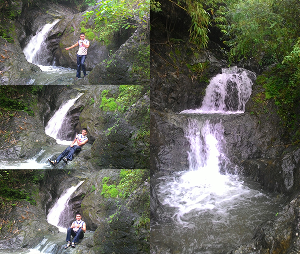 Left: Me on the 1st tier of falls; Right: The 2nd and 3rd tier