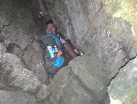 Seriously, it is this tight in the caves so don't bring a big bag
