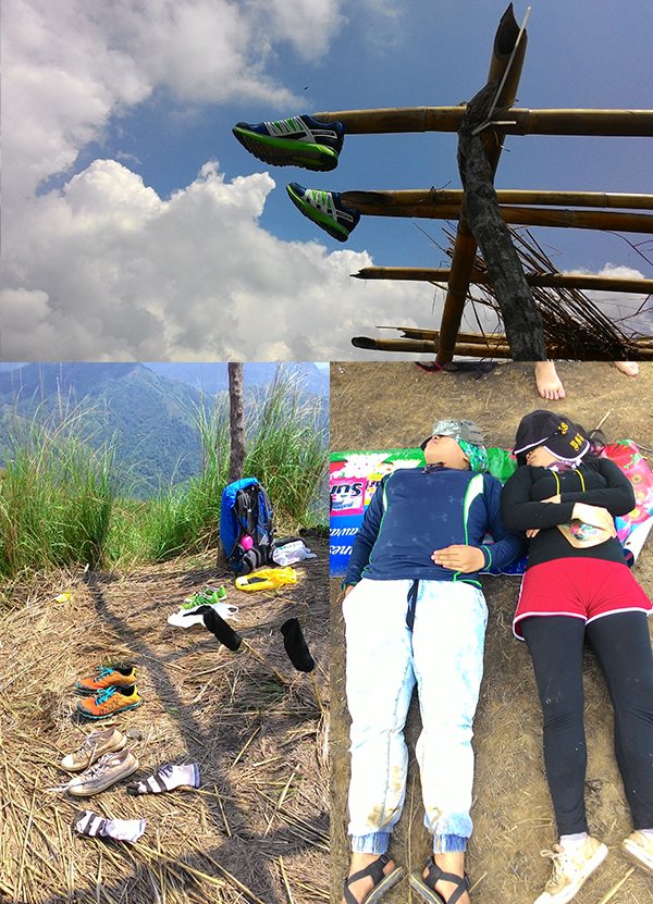 Drying my shoes at the summit; Drying everything; Hikemates collapsed at the summit