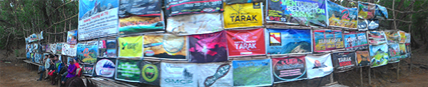 Panorama of the tarps outside Nanay Cording's place