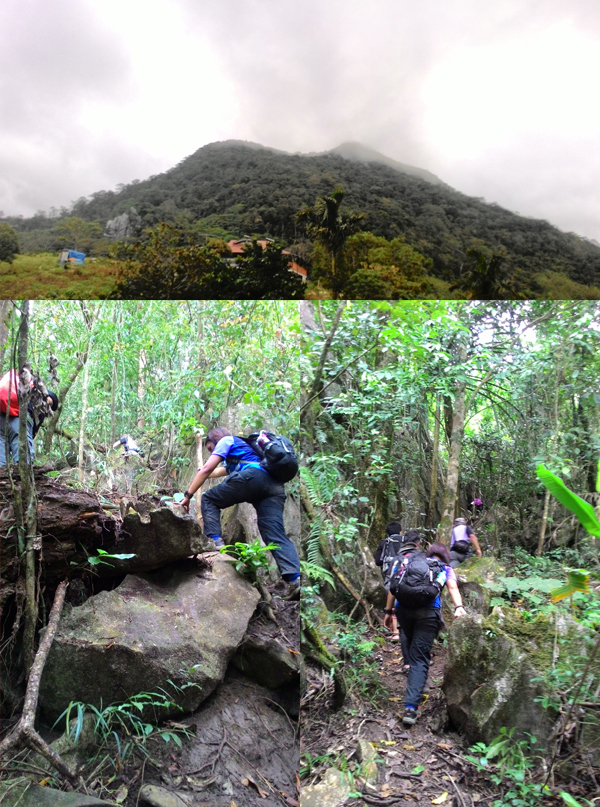 The summit of Mt. Lubog is the peak covered by fog; We had to scramble up rocks for most of the trail