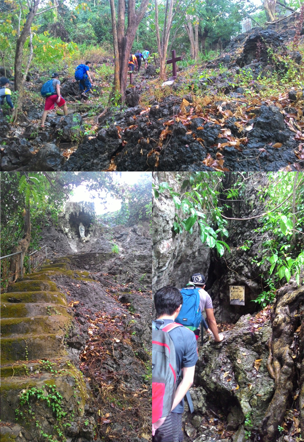 Stations of the cross, a grotto, and a cave mark the beginning of the trail