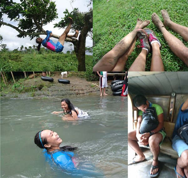 Miscellaneous pics showing a lechon, our mud-crusted feet, and me falling asleep as soon as I boarded the jeep