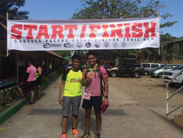 At the finish line with Sir Jigs, the Race Director