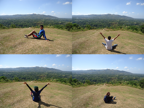 Poses at the grassland