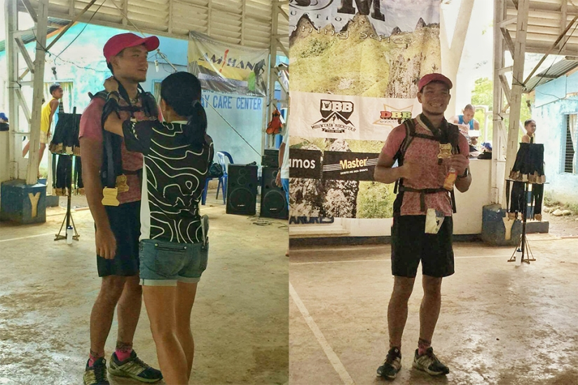 Dapdap awarding me my medal and a huge sigh of relief