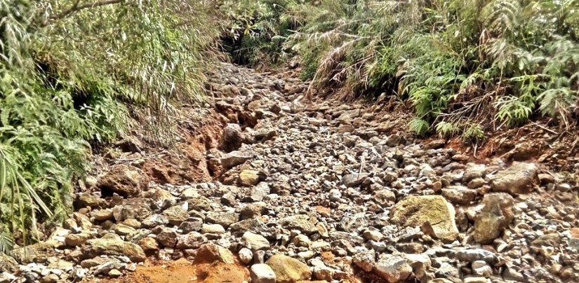 The rocks came from the river and were brought to the trail to allow trucks to pass